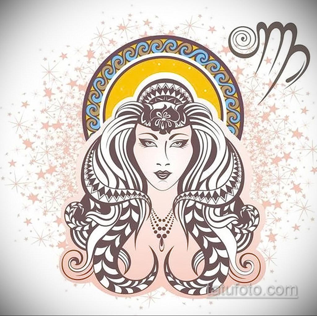 пример эскиза для татуировки знак девы 06.10.2019 №021 -Virgo Tattoo- tatufoto.com