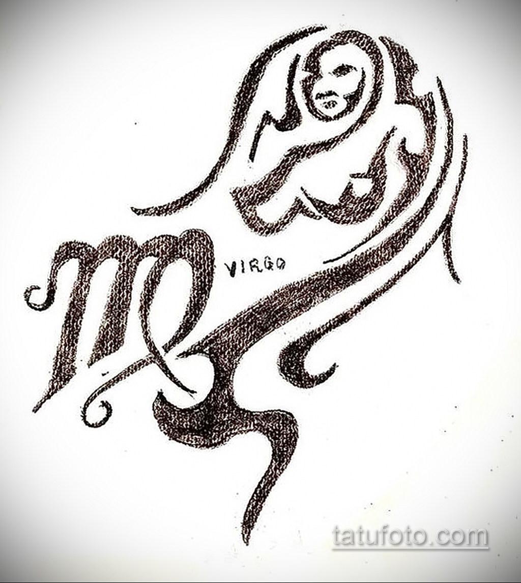 пример эскиза для татуировки знак девы 06.10.2019 №027 -Virgo Tattoo- tatufoto.com