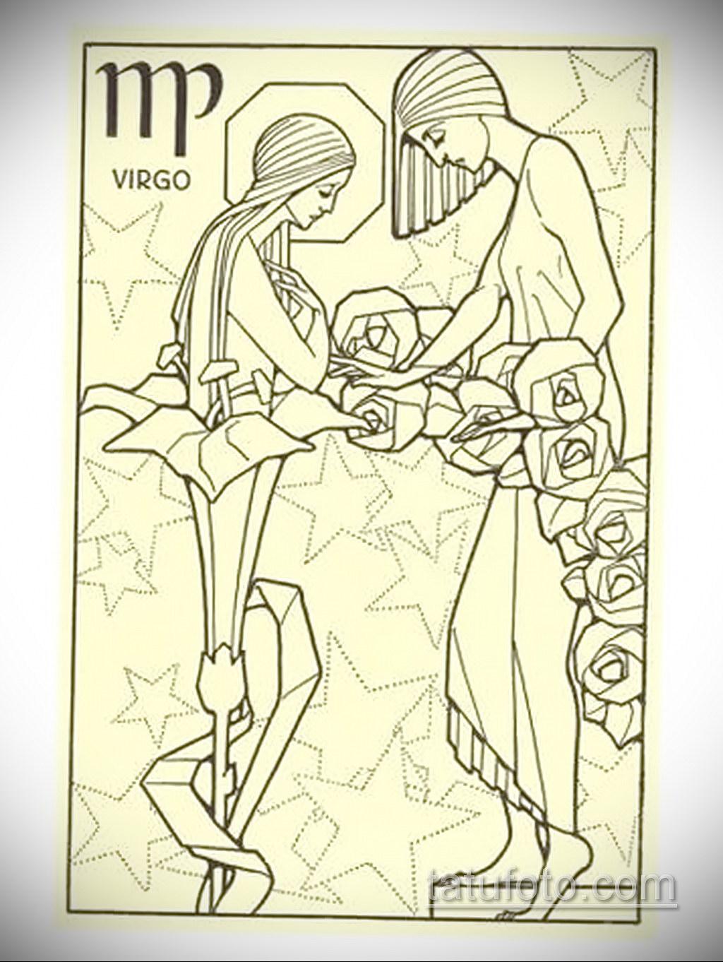 пример эскиза для татуировки знак девы 06.10.2019 №028 -Virgo Tattoo- tatufoto.com