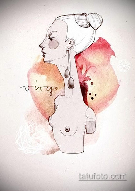 пример эскиза для татуировки знак девы 06.10.2019 №038 -Virgo Tattoo- tatufoto.com