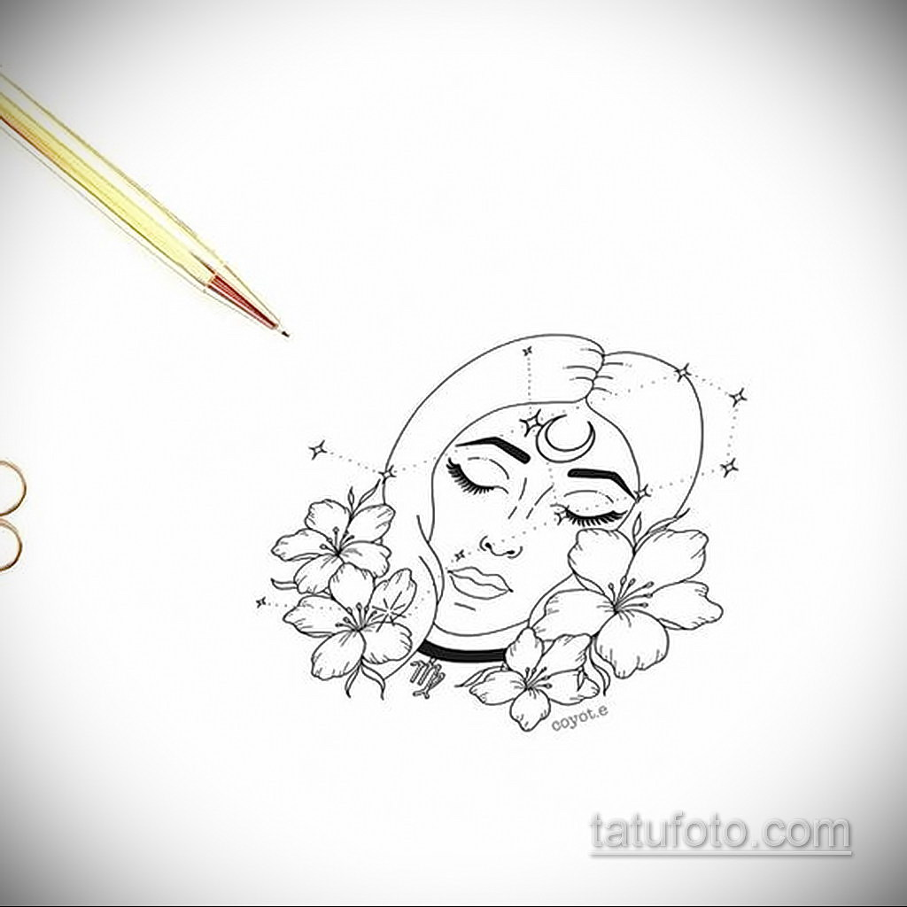 пример эскиза для татуировки знак девы 06.10.2019 №040 -Virgo Tattoo- tatufoto.com