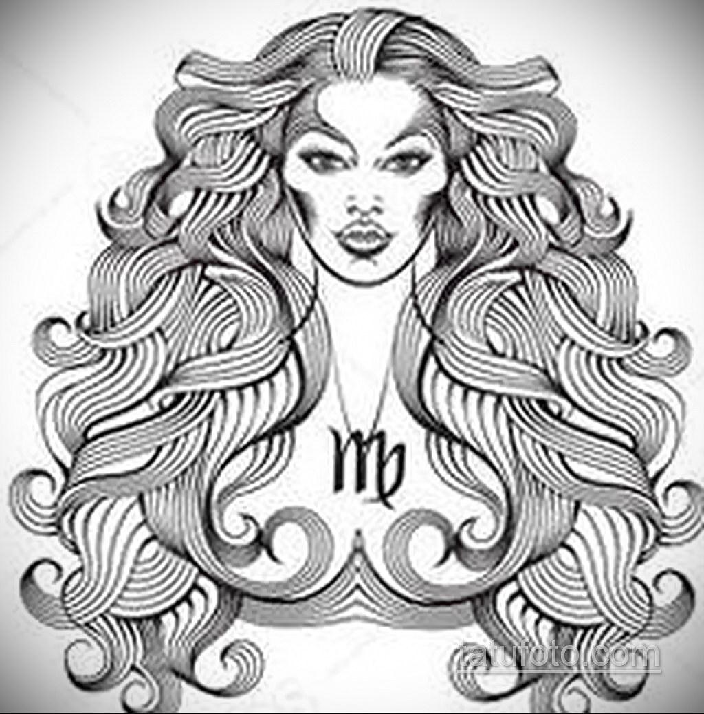 пример эскиза для татуировки знак девы 06.10.2019 №043 -Virgo Tattoo- tatufoto.com