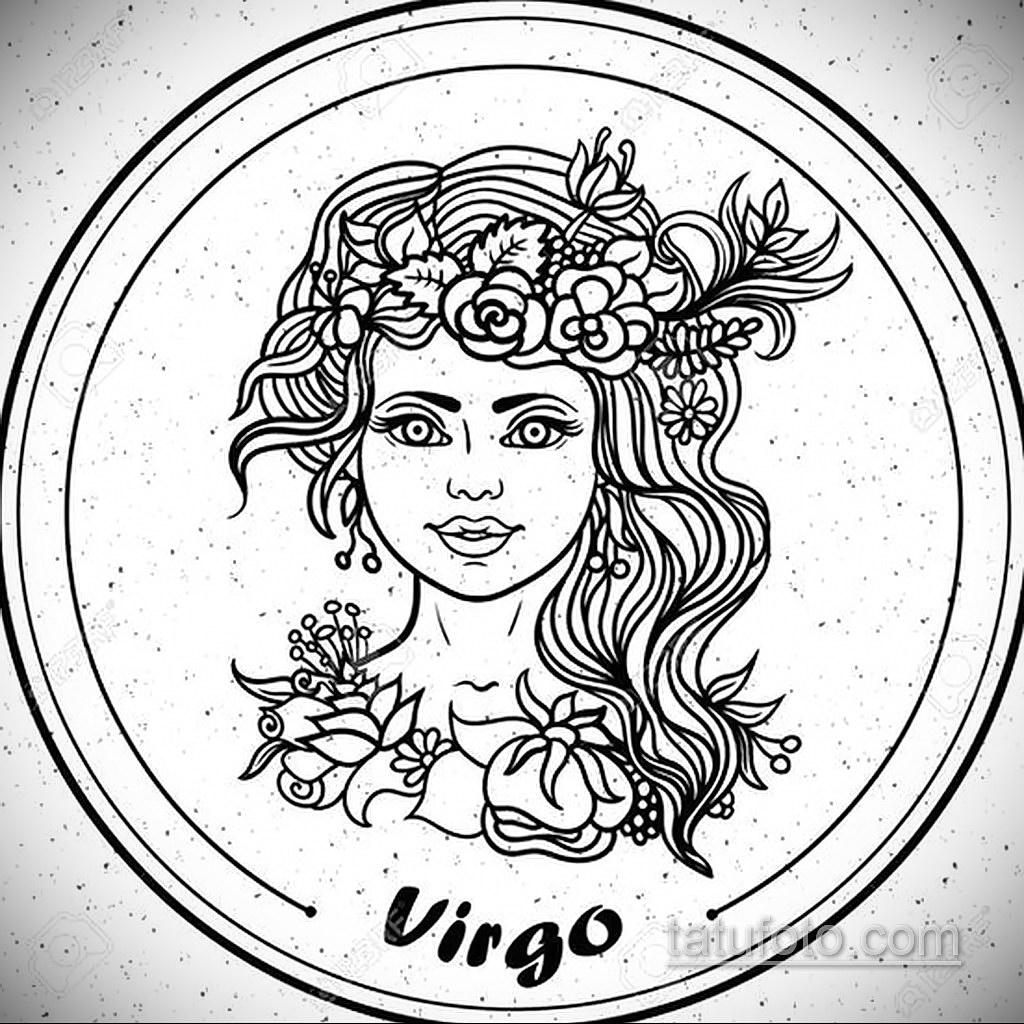 пример эскиза для татуировки знак девы 06.10.2019 №054 -Virgo Tattoo- tatufoto.com