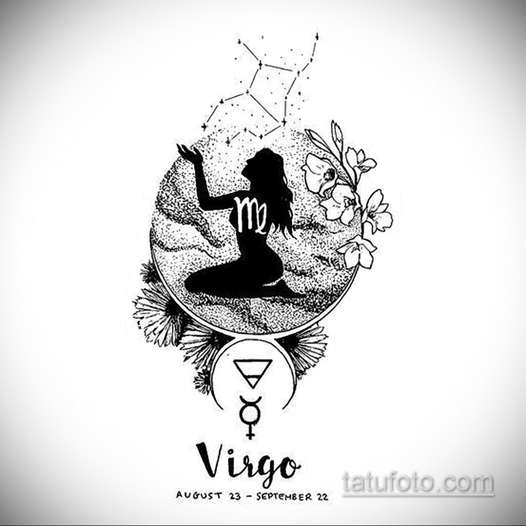 пример эскиза для татуировки знак девы 06.10.2019 №060 -Virgo Tattoo- tatufoto.com