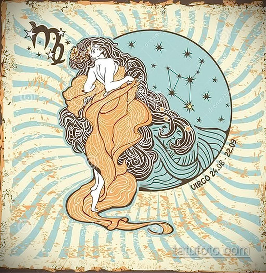 пример эскиза для татуировки знак девы 06.10.2019 №064 -Virgo Tattoo- tatufoto.com