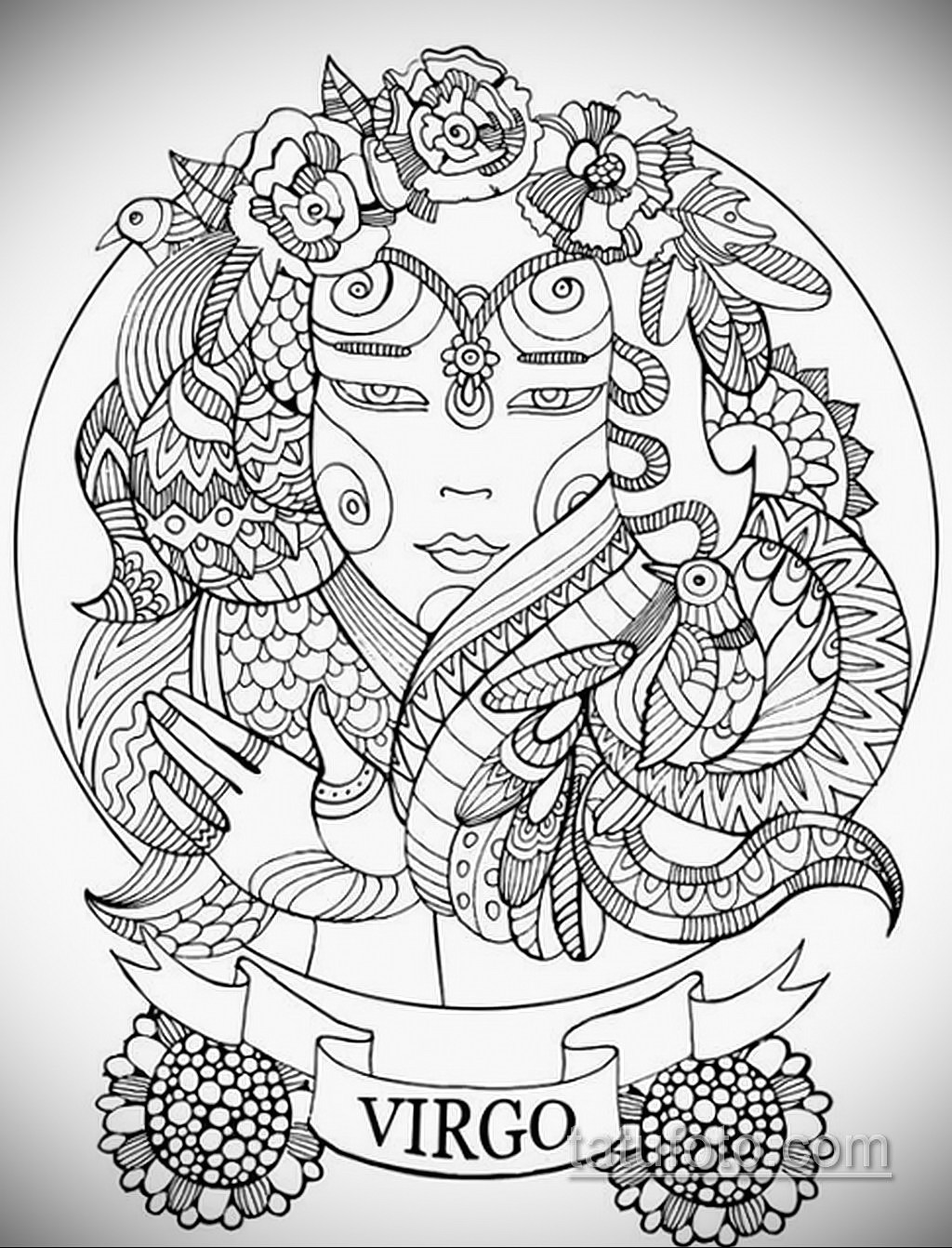 пример эскиза для татуировки знак девы 06.10.2019 №065 -Virgo Tattoo- tatufoto.com