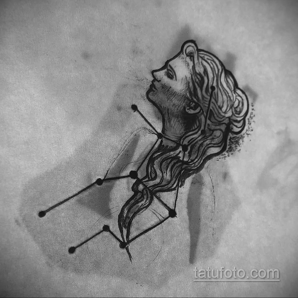 пример эскиза для татуировки знак девы 06.10.2019 №070 -Virgo Tattoo- tatufoto.com