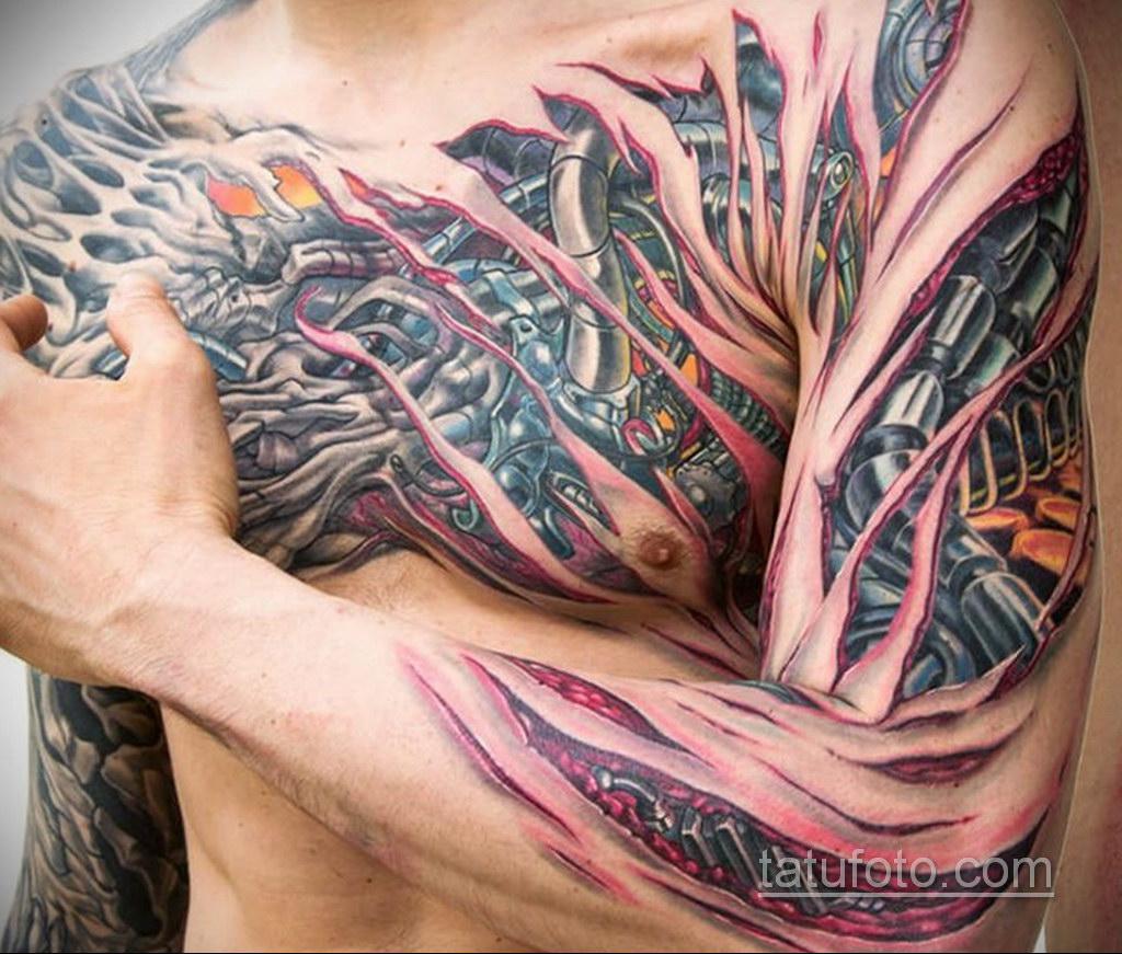 тату биомеханика на груди 31.10.2019 №011 - biomechanics tattoo on the che - tatufoto.com