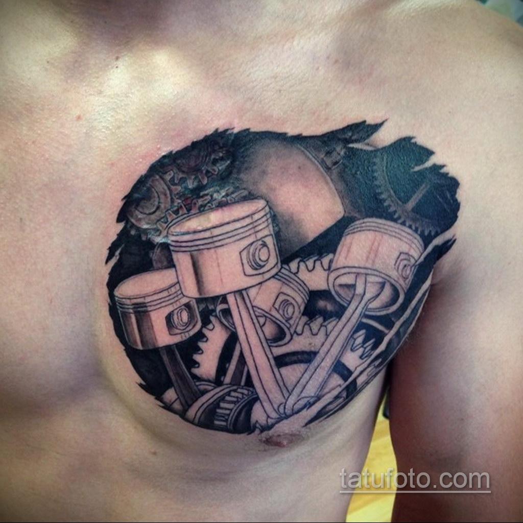 тату биомеханика на груди 31.10.2019 №013 - biomechanics tattoo on the che - tatufoto.com
