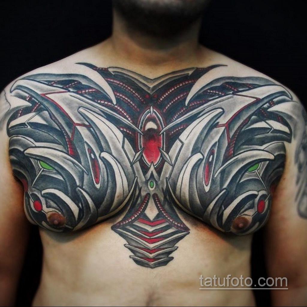 тату биомеханика на груди 31.10.2019 №023 - biomechanics tattoo on the che - tatufoto.com