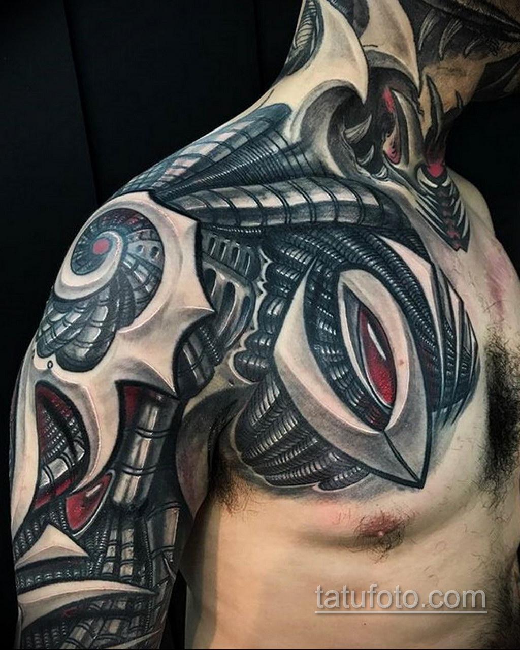 тату биомеханика на груди 31.10.2019 №038 - biomechanics tattoo on the che - tatufoto.com