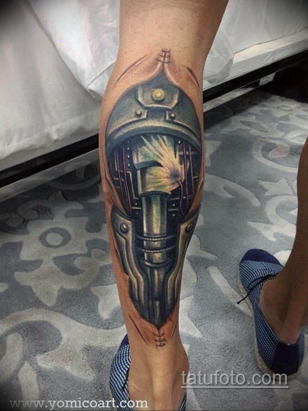 тату биомеханика на икре 31.10.2019 №011 - biomechanics tattoo - tatufoto.com