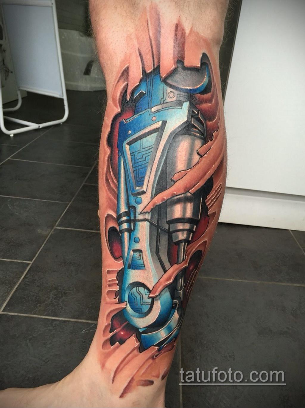 тату биомеханика на икре 31.10.2019 №013 - biomechanics tattoo - tatufoto.com