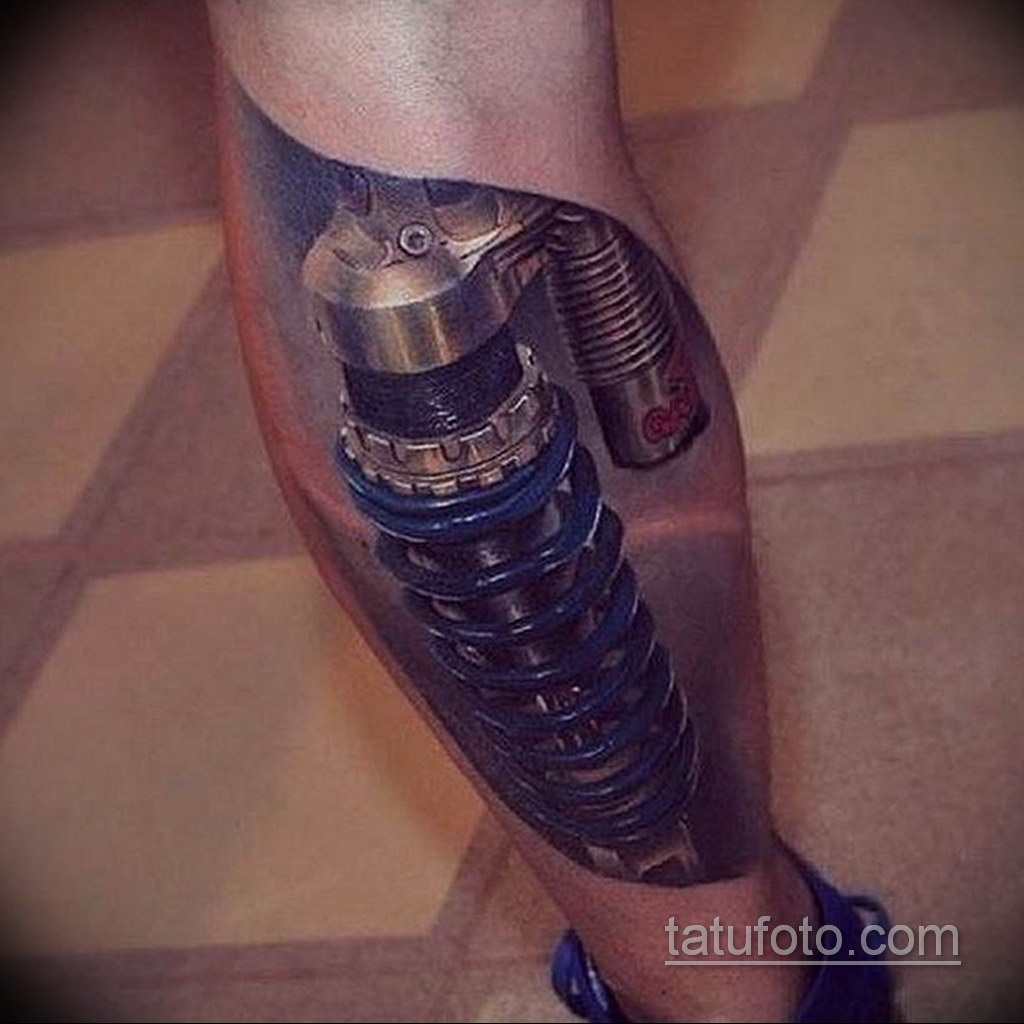 тату биомеханика на икре 31.10.2019 №019 - biomechanics tattoo - tatufoto.com