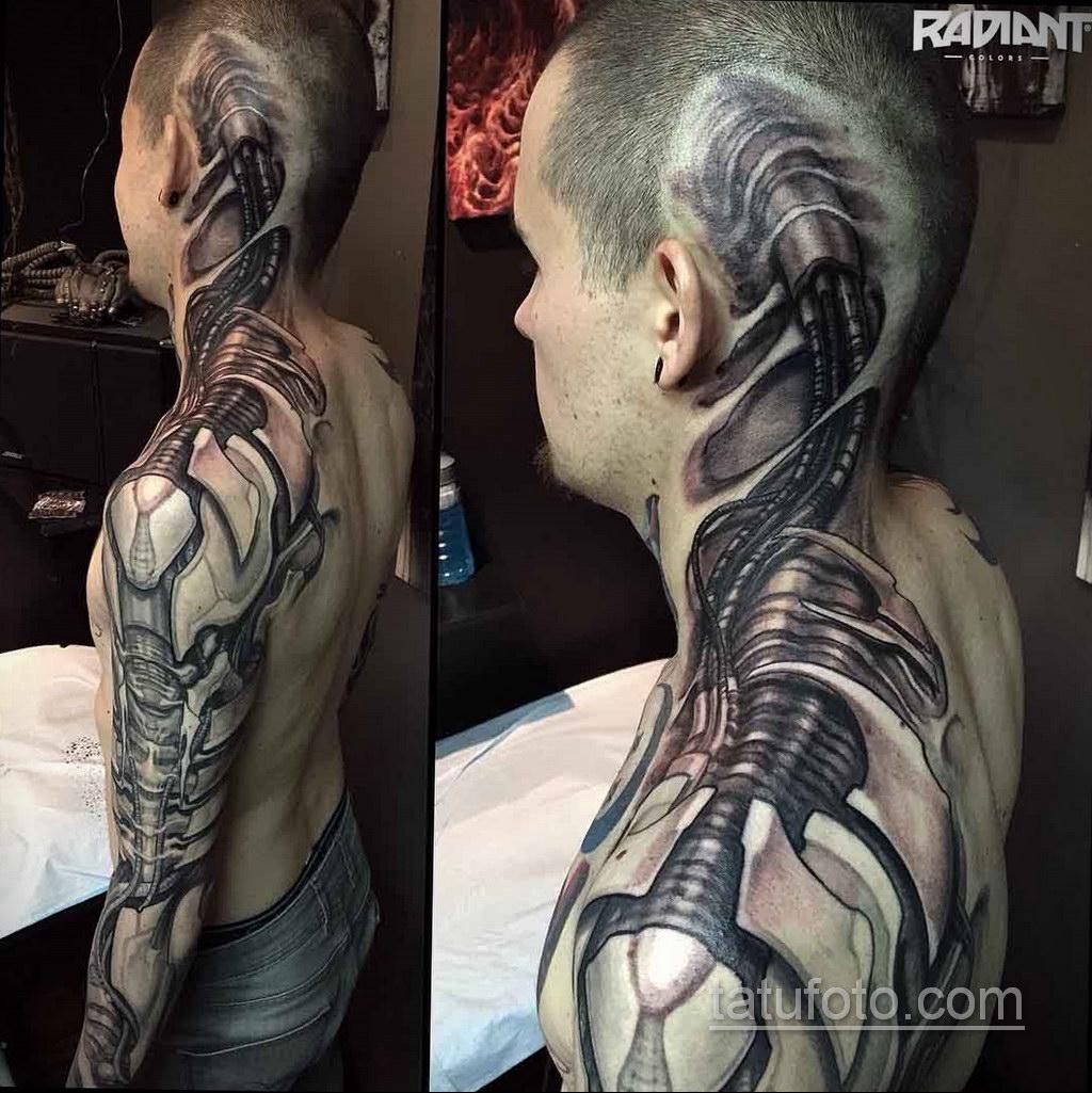 тату биомеханика на плече 31.10.2019 №013 - biomechanics tattoo - tatufoto.com