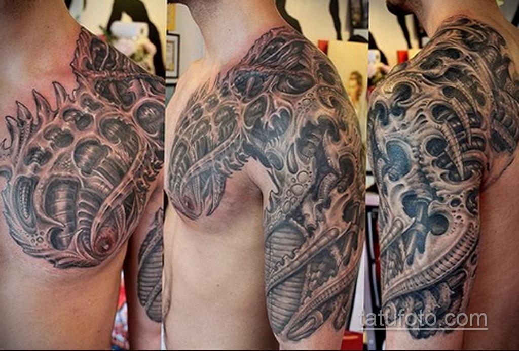 тату биомеханика на плече 31.10.2019 №017 - biomechanics tattoo - tatufoto.com