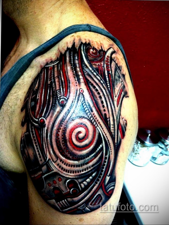 тату биомеханика на плече 31.10.2019 №022 - biomechanics tattoo - tatufoto.com