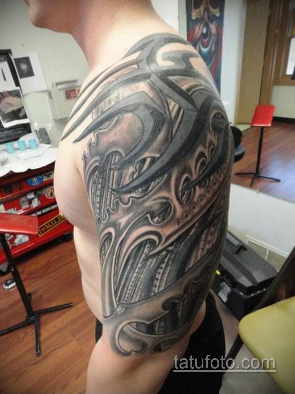 тату биомеханика на плече 31.10.2019 №028 - biomechanics tattoo - tatufoto.com