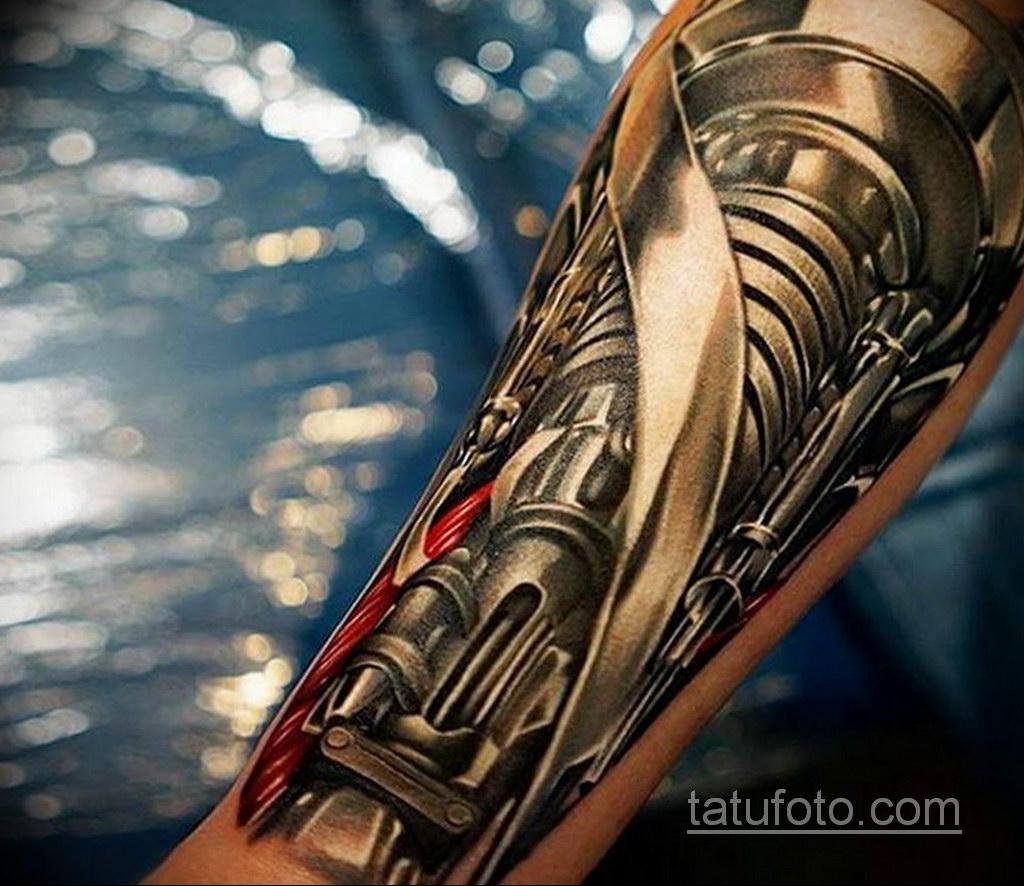тату биомеханика на предплечье 31.10.2019 №017 - biomechanics tattoo - tatufoto.com