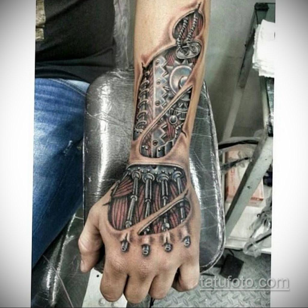 тату биомеханика на руке 31.10.2019 №002 - biomechanics tattoo - tatufoto.com