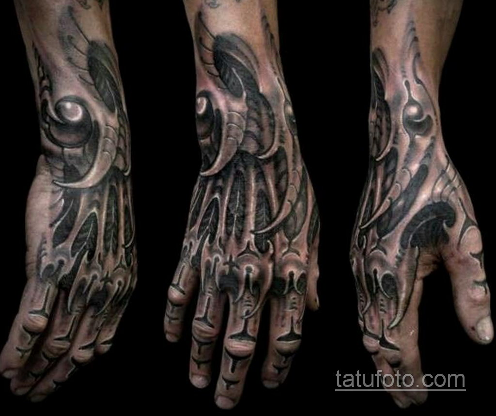 тату биомеханика на руке 31.10.2019 №003 - biomechanics tattoo - tatufoto.com