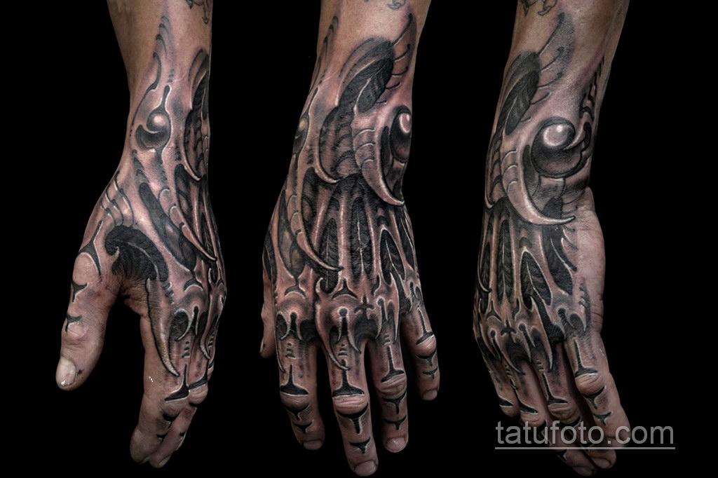 тату биомеханика на руке 31.10.2019 №015 - biomechanics tattoo - tatufoto.com