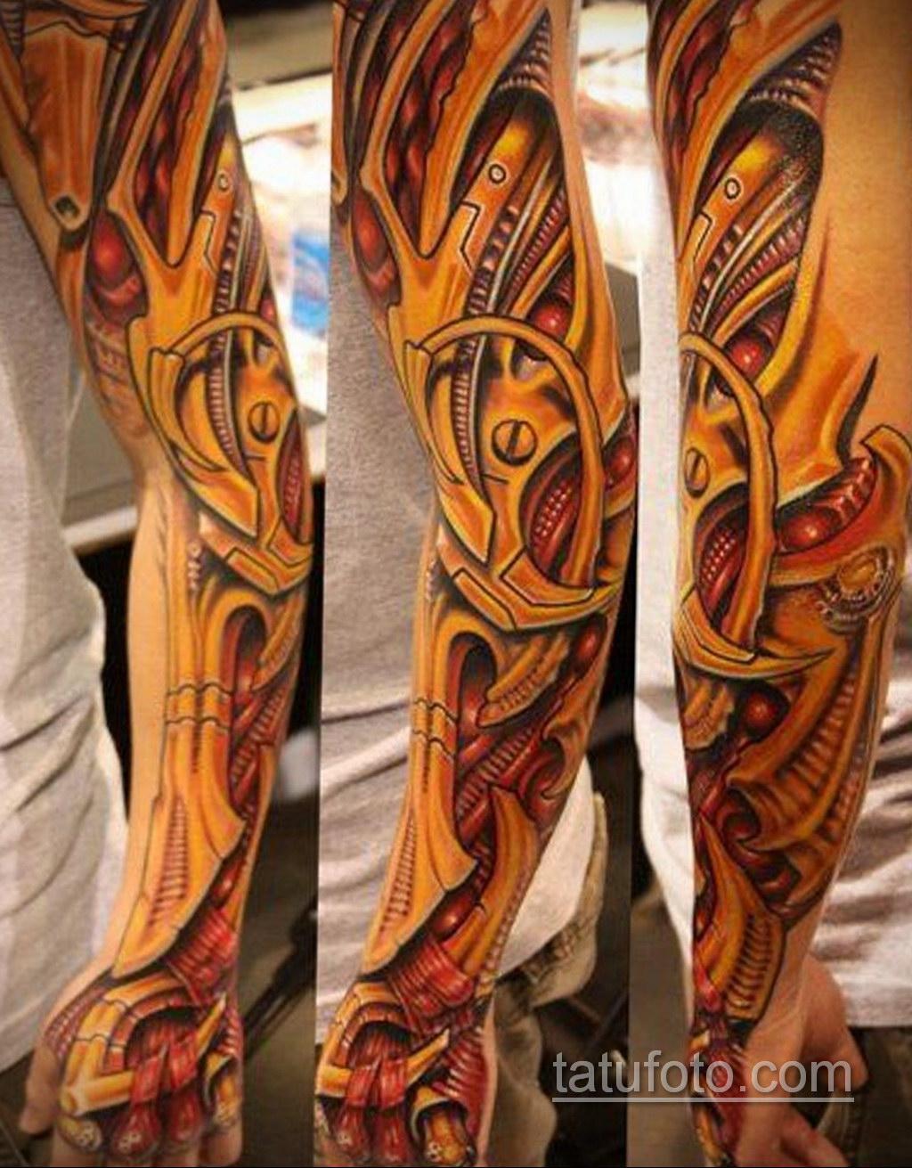 тату рукав биомеханика 31.10.2019 №004 - biomechanics tattoo - tatufoto.com