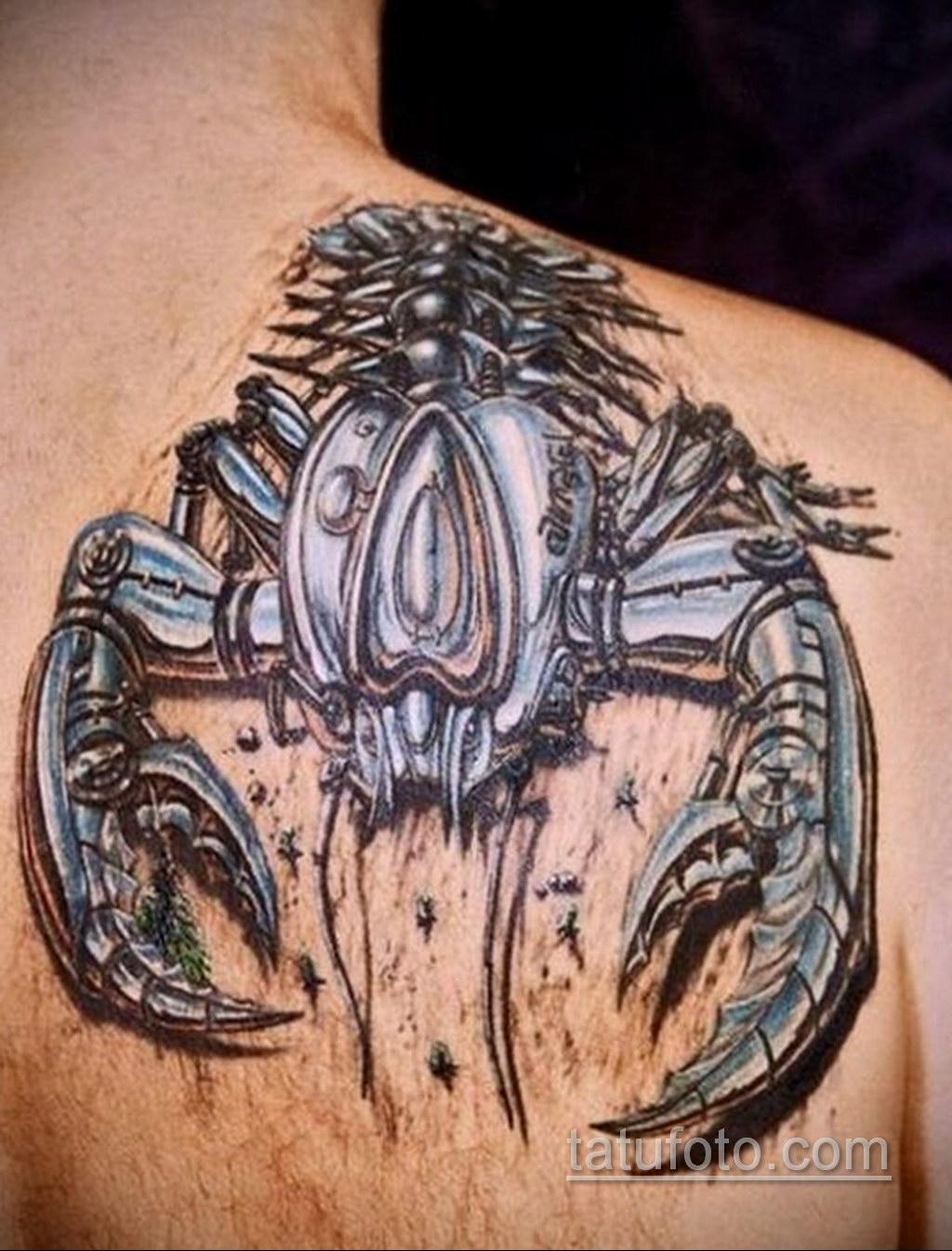 тату скорпион биомеханика 31.10.2019 №001 - biomechanics tattoo - tatufoto.com