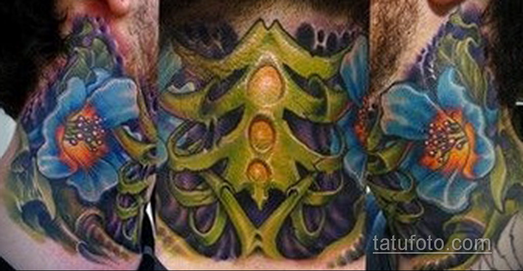 тату биомеханика на шее 31.10.2019 №018 - biomechanics tattoo - tatufoto.com