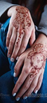 Пример временной татуировки хной на фото 11.11.2019 №301 -henna tattoo- tatufoto.com