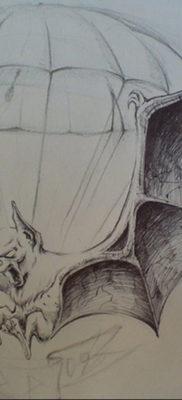 Татуировка разведки – летучая мышь 24.11.2019 №3045 -bat tattoo- tatufoto.com