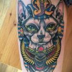 тату Египетская кошка 18.11.2019 №007 -Egyptian cat tattoo- tatufoto.com
