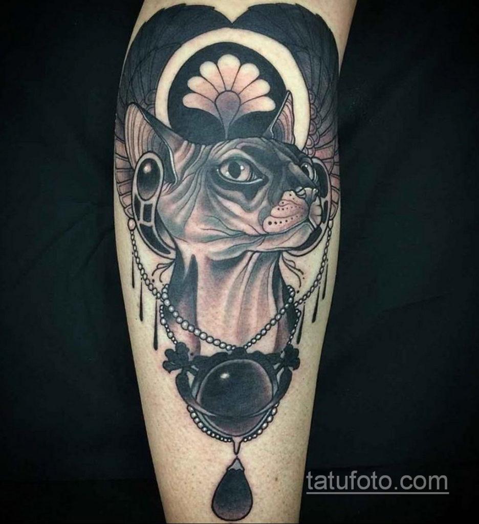 тату Египетская кошка 18.11.2019 №069 -Egyptian cat tattoo- tatufoto.com