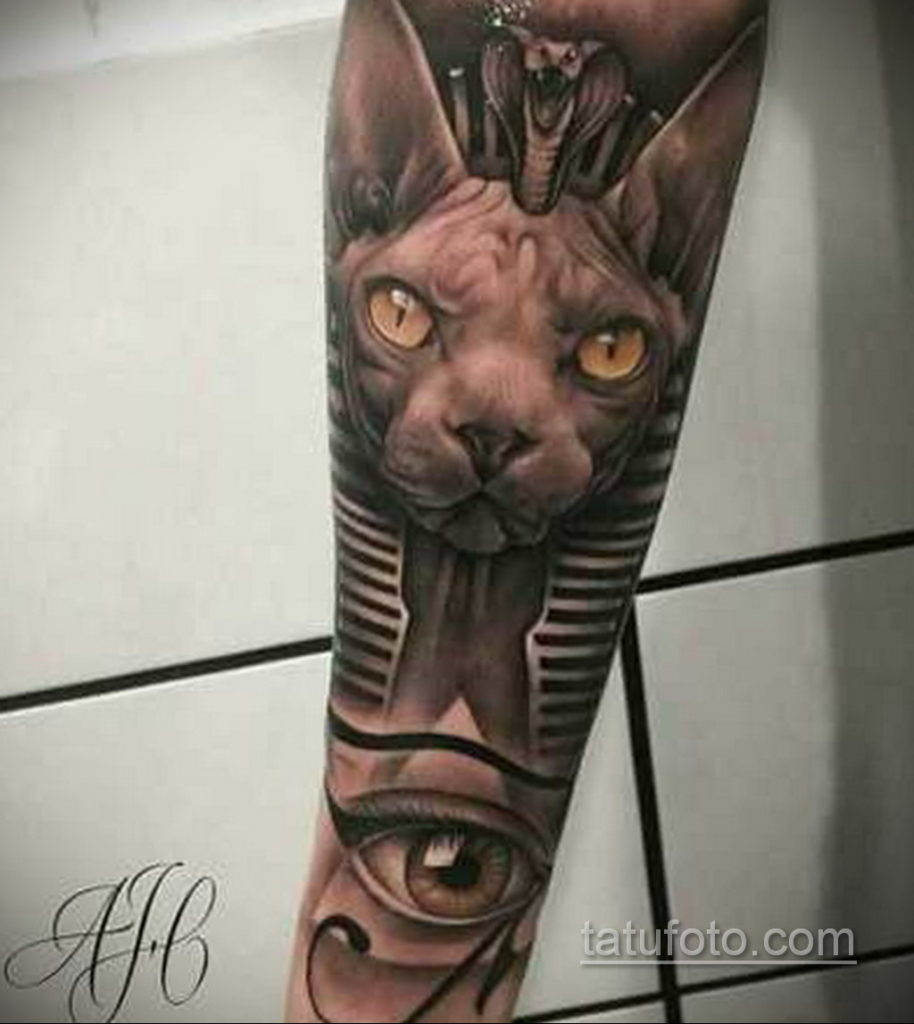 тату Египетская кошка 18.11.2019 №106 -Egyptian cat tattoo- tatufoto.com
