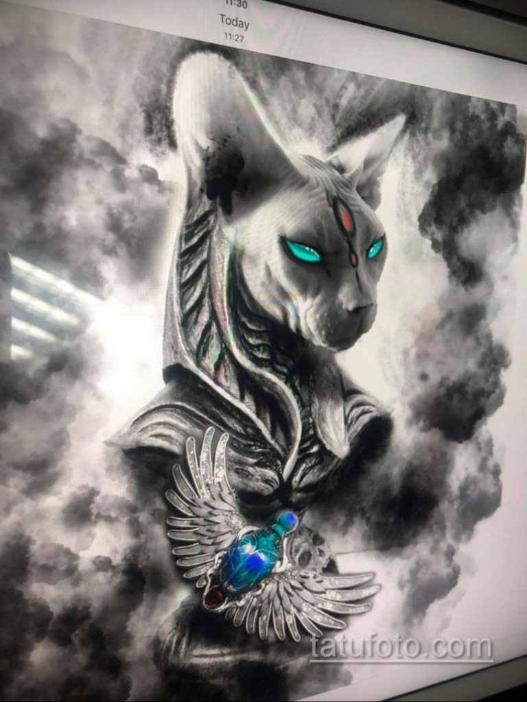 тату Египетская кошка 18.11.2019 №113 -Egyptian cat tattoo- tatufoto.com