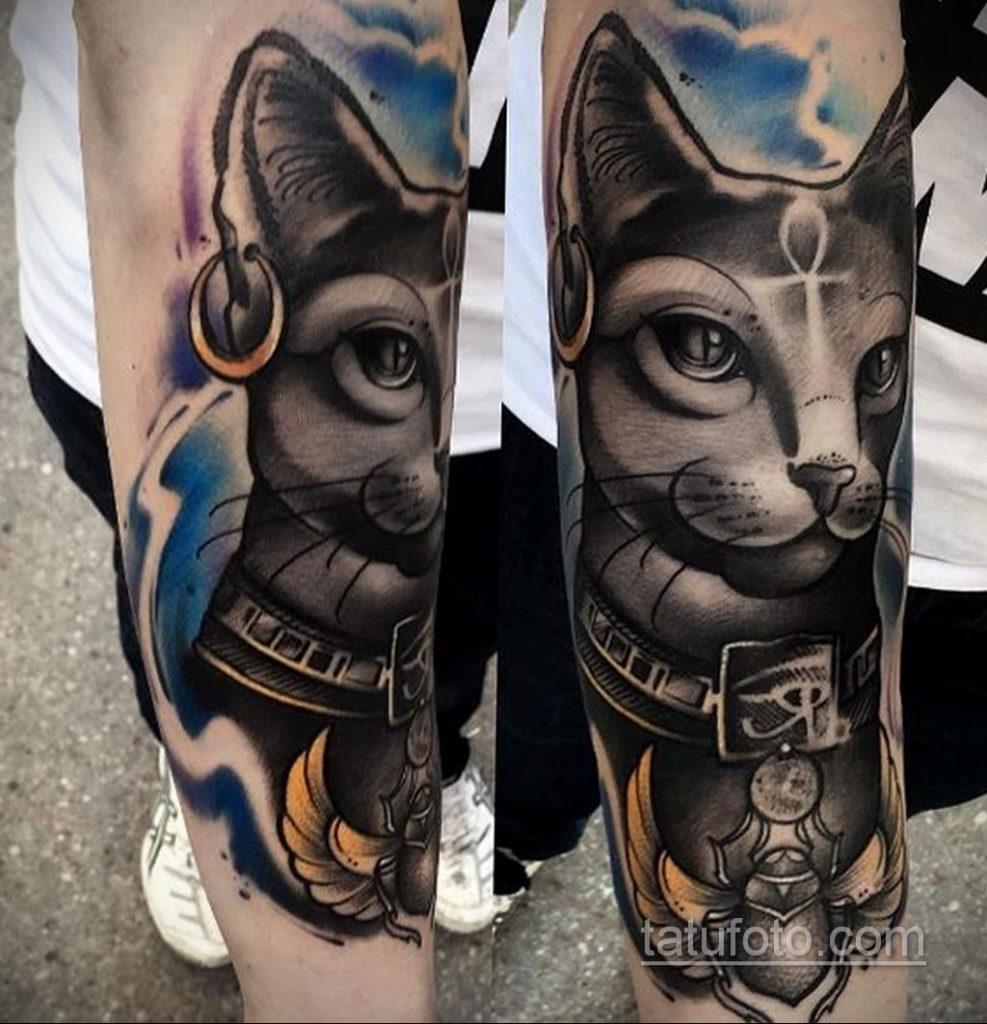 тату Египетская кошка 18.11.2019 №128 -Egyptian cat tattoo- tatufoto.com