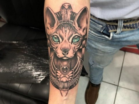 тату Египетская кошка 18.11.2019 №131 -Egyptian cat tattoo- tatufoto.com
