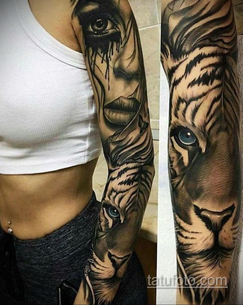 тату рукав женский 18.11.2019 №003 -tattoo sleeve women- tatufoto.com