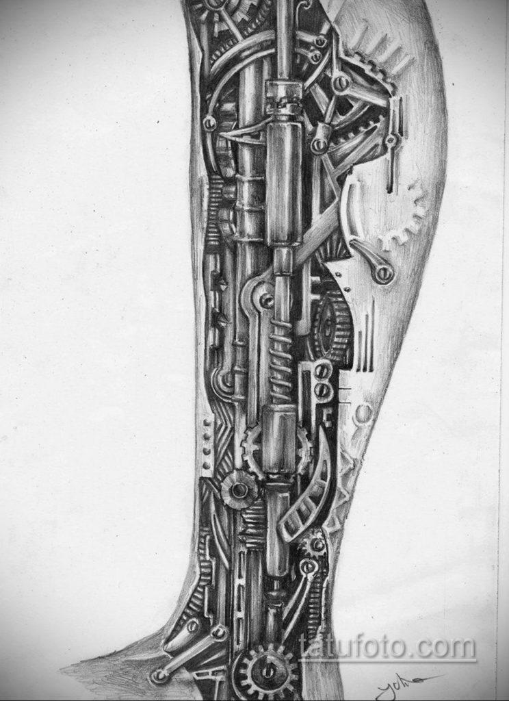 эскиз для тату биомеханика на ноге 28.11.2019 №001 -tattoo- tatufoto.com
