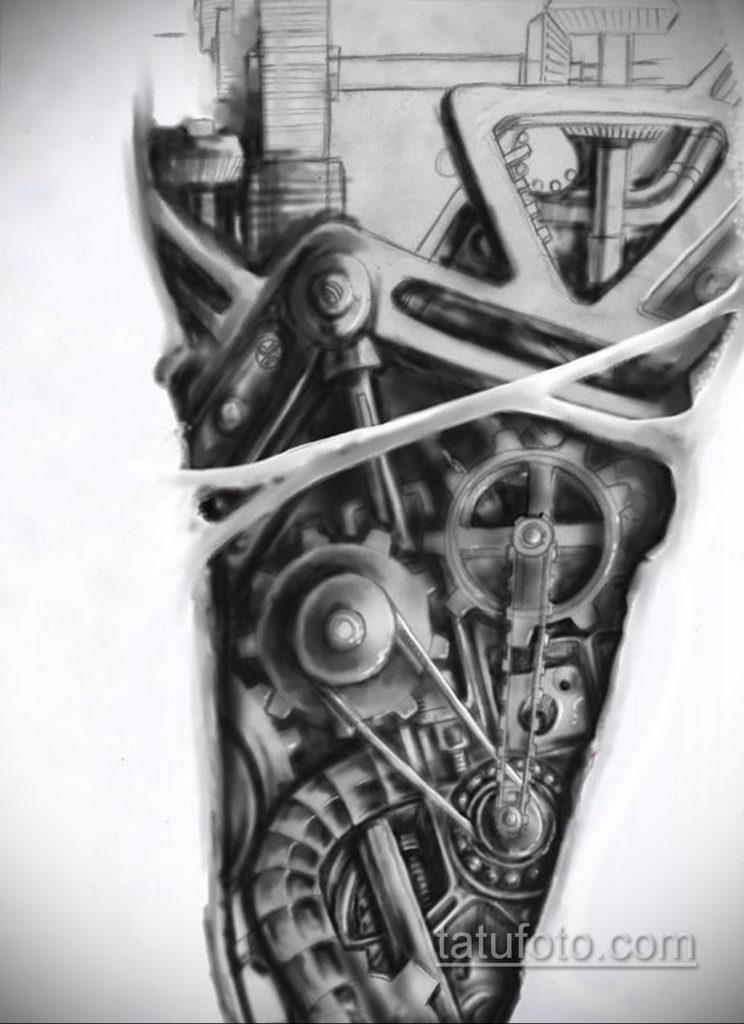 эскиз для тату биомеханика на ноге 28.11.2019 №019 -tattoo- tatufoto.com