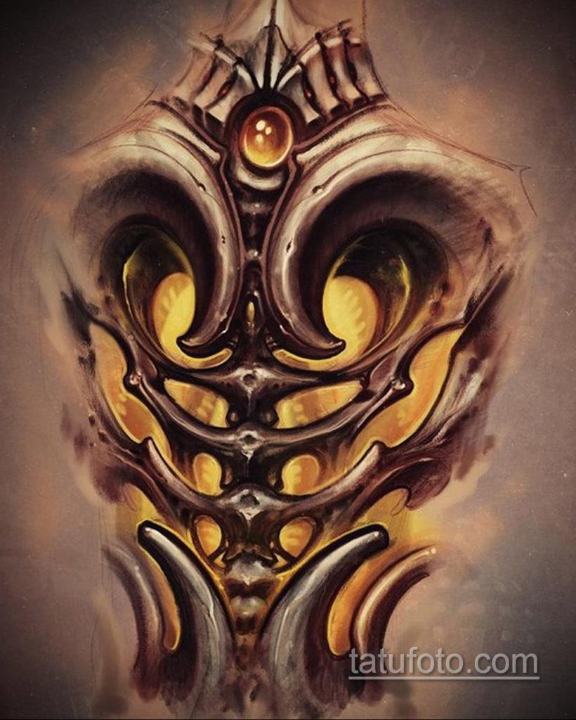 эскиз тату биомеханика 28.11.2019 №1023 -sketch biomechanics tattoo- tatufoto.com