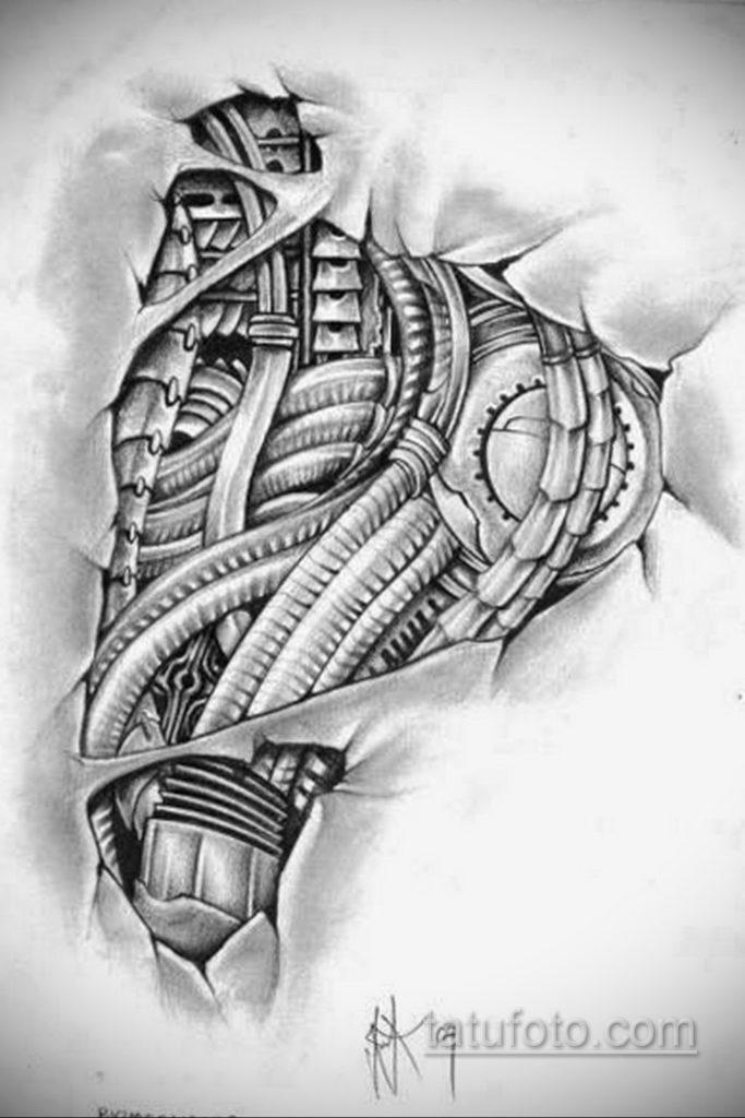 эскиз тату биомеханика 28.11.2019 №1027 -sketch biomechanics tattoo- tatufoto.com