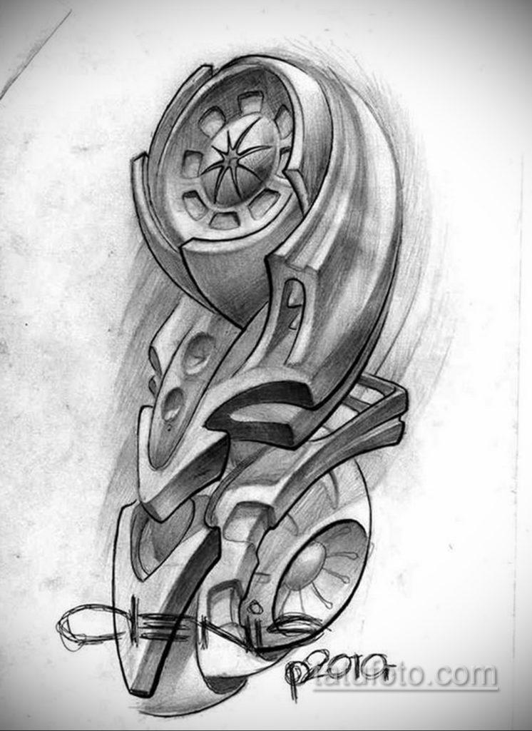 эскиз тату биомеханика 28.11.2019 №1031 -sketch biomechanics tattoo- tatufoto.com