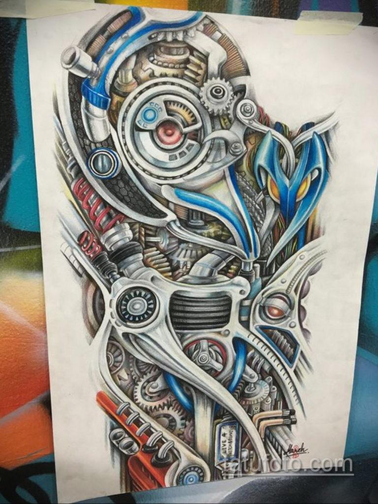 эскиз тату биомеханика 28.11.2019 №1036 -sketch biomechanics tattoo- tatufoto.com