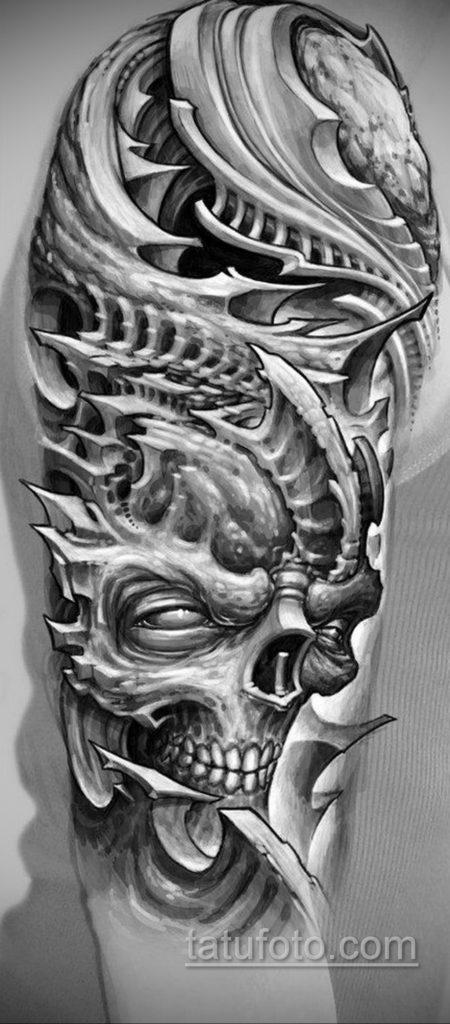 эскиз тату биомеханика 28.11.2019 №1037 -sketch biomechanics tattoo- tatufoto.com