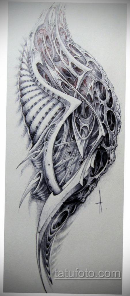 эскиз тату биомеханика 28.11.2019 №1040 -sketch biomechanics tattoo- tatufoto.com