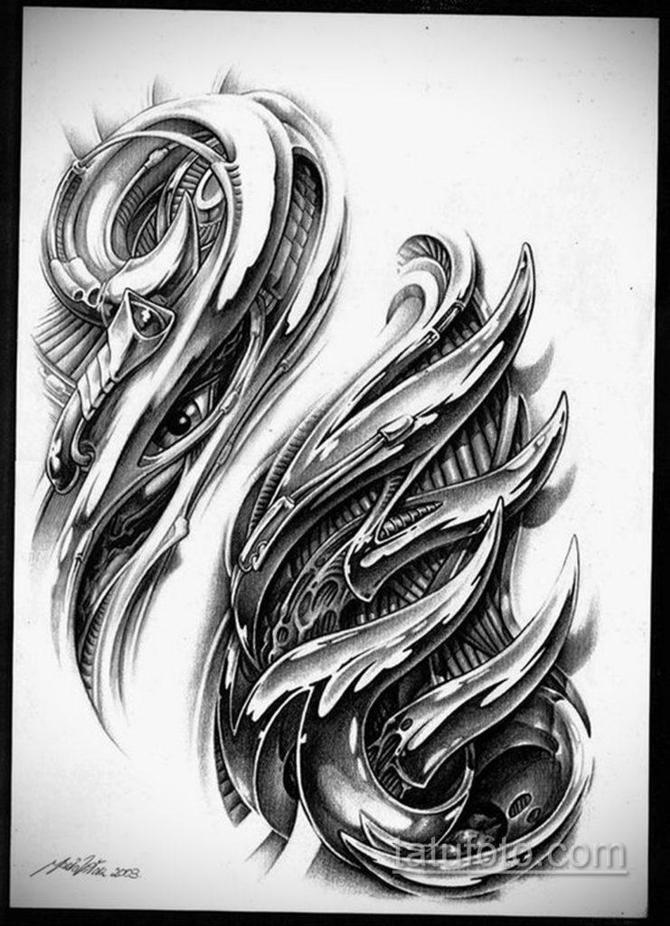 эскиз тату биомеханика 28.11.2019 №1042 -sketch biomechanics tattoo- tatufoto.com
