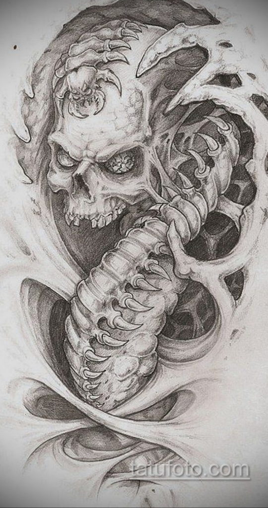 эскиз тату биомеханика 28.11.2019 №1045 -sketch biomechanics tattoo- tatufoto.com