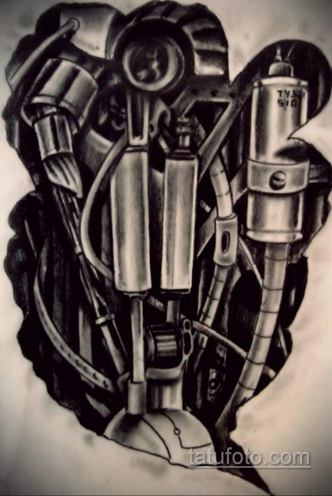 эскиз тату биомеханика 28.11.2019 №1047 -sketch biomechanics tattoo- tatufoto.com