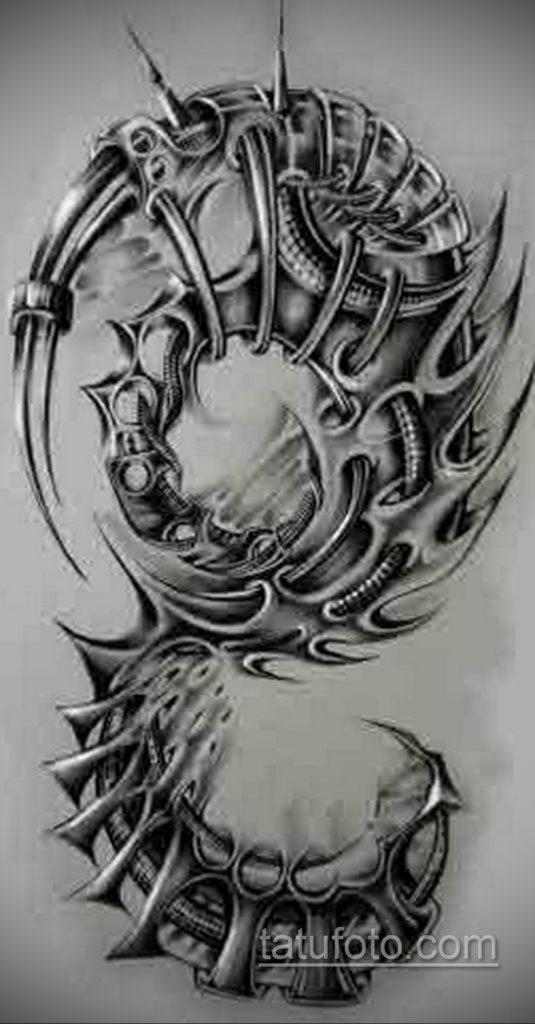 эскиз тату биомеханика 28.11.2019 №1051 -sketch biomechanics tattoo- tatufoto.com